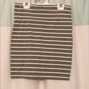Forever 21 Gray and White striped bodycon skirt